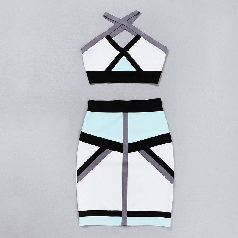 Sexy crossover design bandage crop top with bodycon skirt