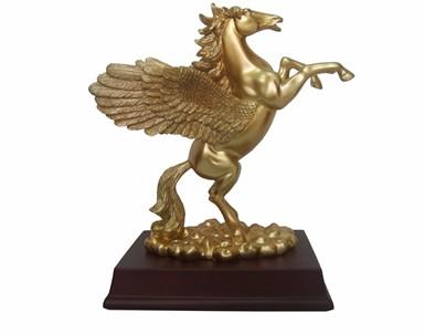 resin gold flying horse animal craft