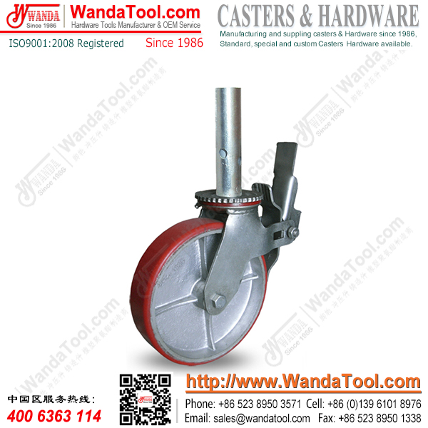 8 inch Pipe Stem Scaffold Caster with Moldon PU Wheel