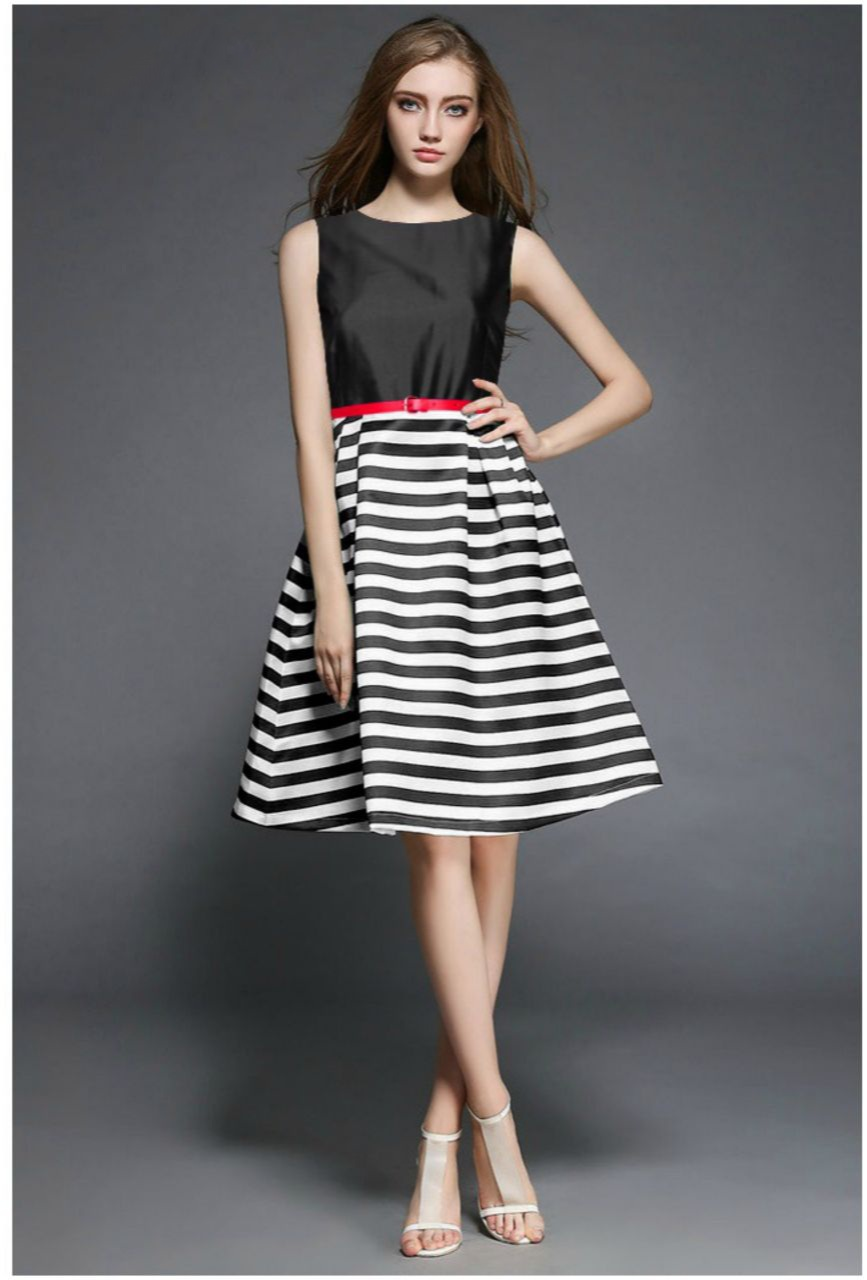 Black And White Straps Flare Dress