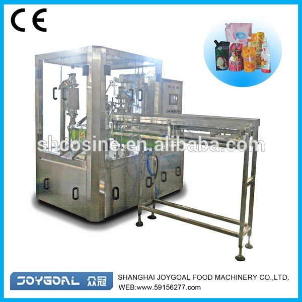 stand up spouted pouch filling capping packing machine