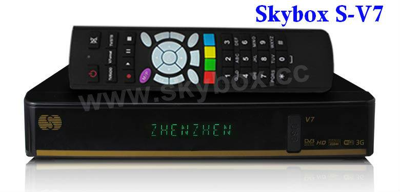 Original SKYBOX S-V7Satellite Receiver /TV box VFD Support 2xUSB WEB TV USB Wifi 3G Biss Key Youporn