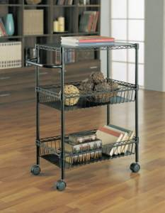 Adjustable Epoxy Black Metal Kitchen Dining Cart