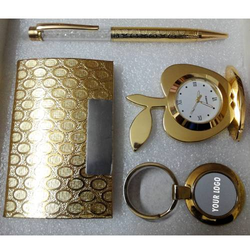 All 24k Gold Plated - Crystal Pen, Table Clock, Visiting Card Holder and Key Holder - Combo Corporat