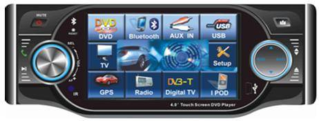 4.0-inch touch Screen car DVD player with AM/FM/RDS/TV/USB/Divx/Bluetooth/iPod control