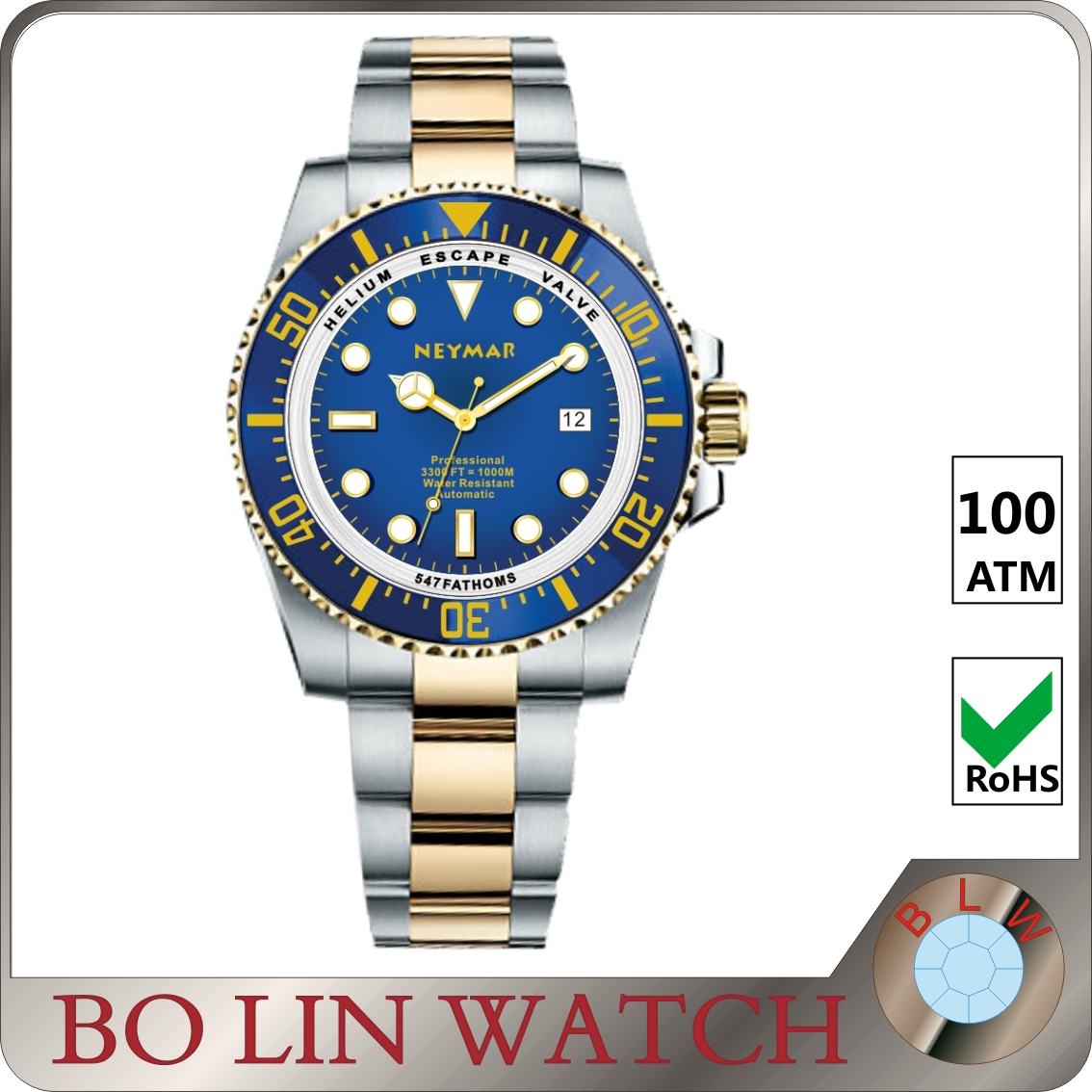 Personalized colorful big face multi-fuanction high end 316L stainless steel watch
