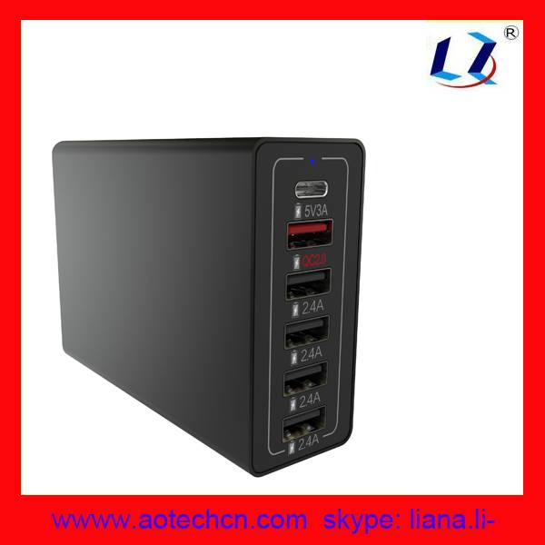 High Speed Desktop family size 60 Watt usb wall charger 6-Port