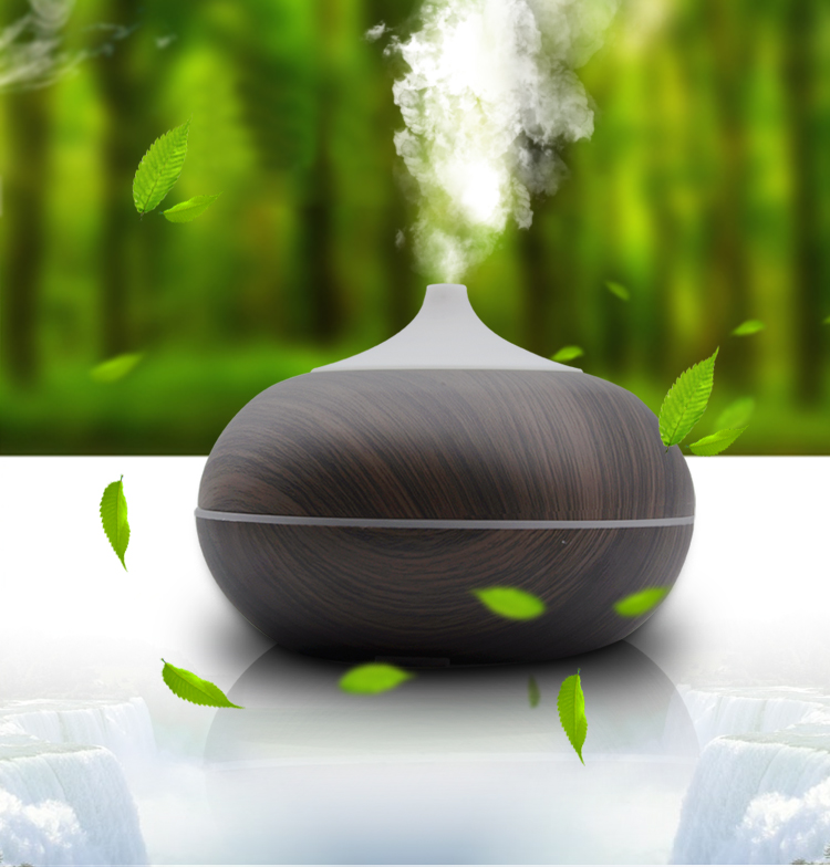 Essential Oil Diffuser 300ml Round Small Classic Wood Brown Electric Cool Mist For Homes