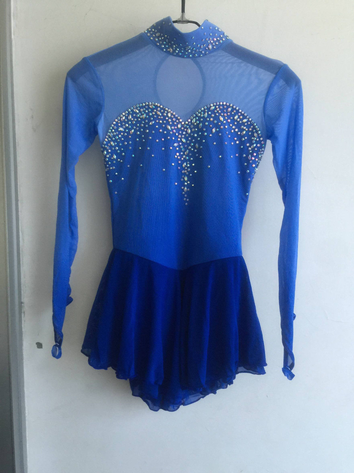 blue ice skating dress girls custom competition figure dress