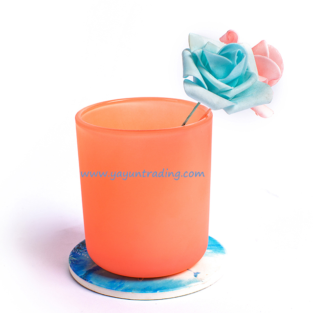 395ml Popular Pink Sprayed Colored Glass Candle Holder for Gift
