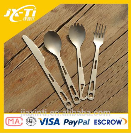 3-Piece Titanium Outdoor Camping Cutlery Kitchen Utensil Titanium Spork Fork Spoon Tableware