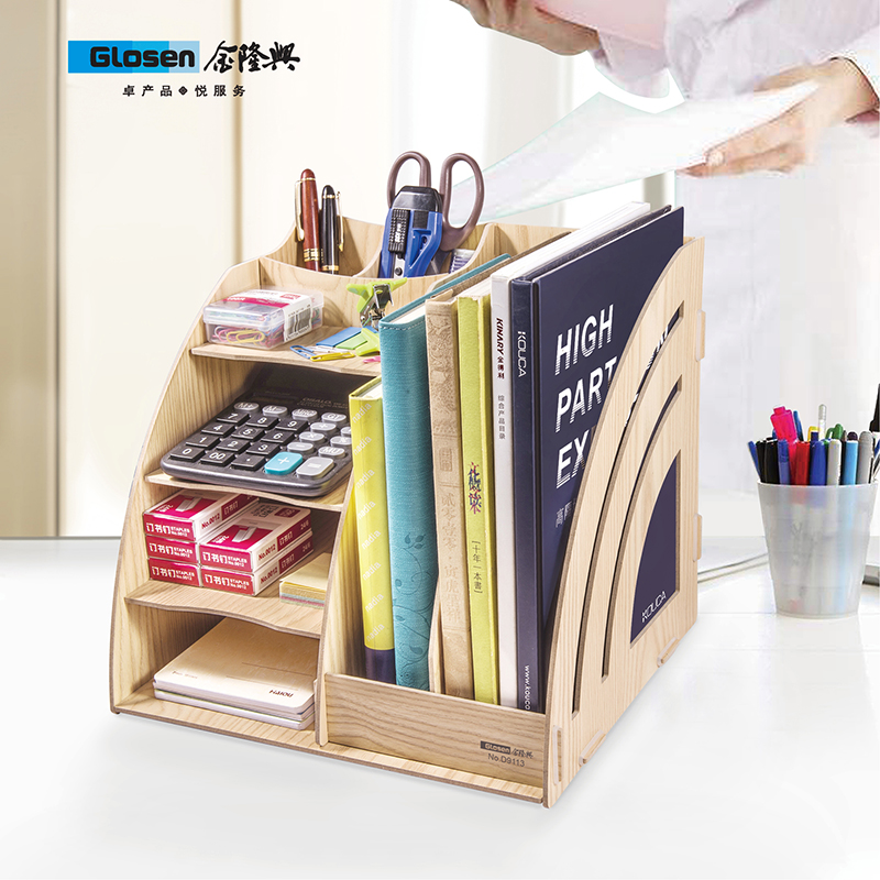 Glosen Wooden DIY Desk Organizer with 2 Columns File Tray D9113