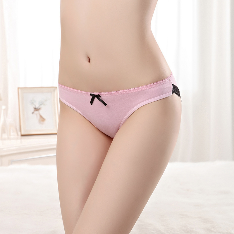 Sexy Lace Trim Lingerie Breathable Cotton Ladies Briefs Sexy Undergarments For Ladies
