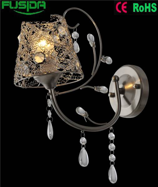 Indoor Simple Modern With Iron Lampshape Crystal Wall Lamp 9302/1W