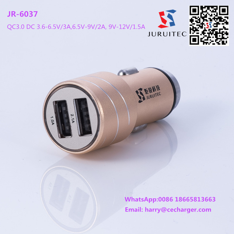 Alum Alloy Glasser breaker Usb Car Charger Connector With Quick Charger 3.0 and 4A Max Output