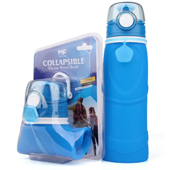 Portable roll up outdoor sports rolling up foldable silicone water bottles travelling products