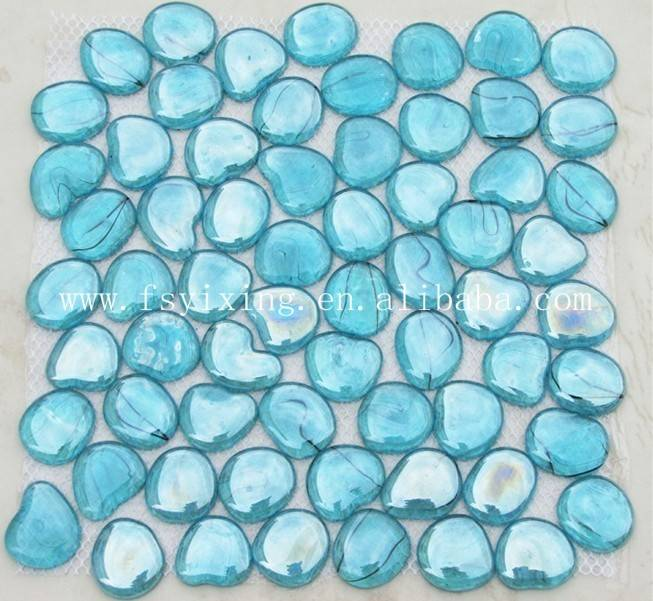 Blue Pebble Round Glass Mosaic For Pool Tile
