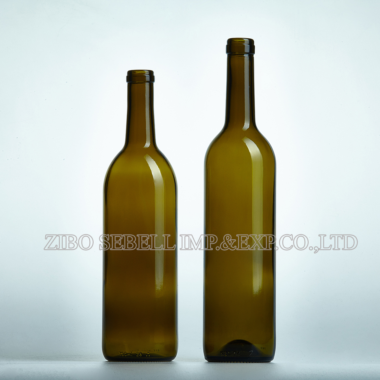 750ml cork top glass wine bottle in antique green color