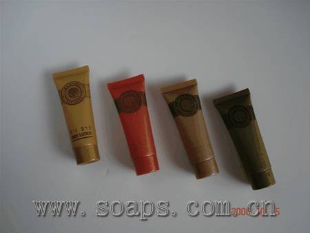 hotel amenities with tube filled in shampoo,conditioner,bath gel ,body lotion etc