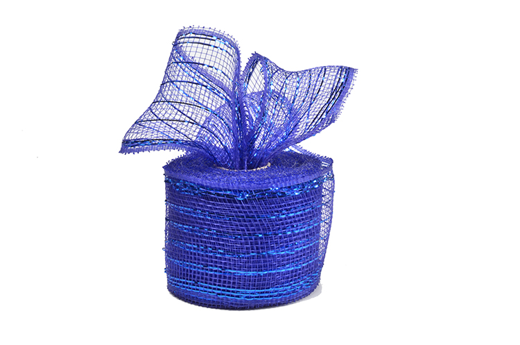 "2.5""10y royal blue strip poly wholesale deco mesh roll for 50C18R2-5"