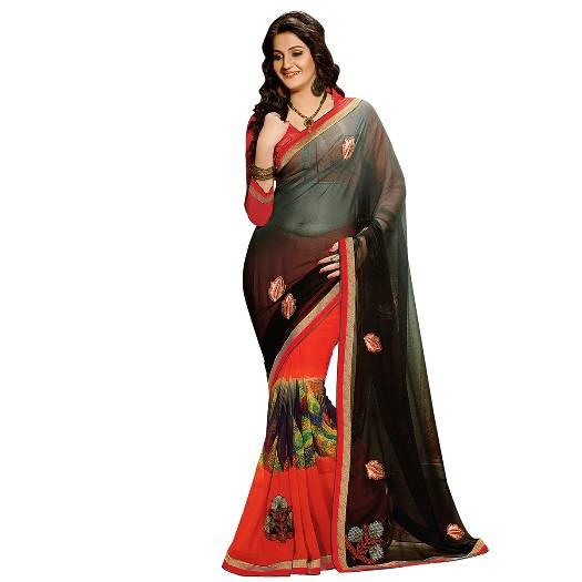 Shonaya Red & Black Colour Georgette Embroidered Sarees With Blouse PieceSGDN2-4857