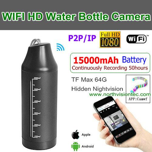 WI-1080T,WIFI Water Bottle Camera,15000 Battery Recording