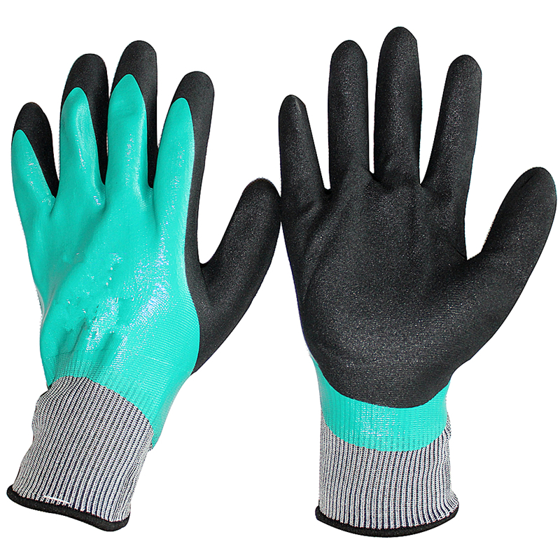 HPPE Blend Cut Resistant Glove and Nitrile Double Dip Glove Full Coat