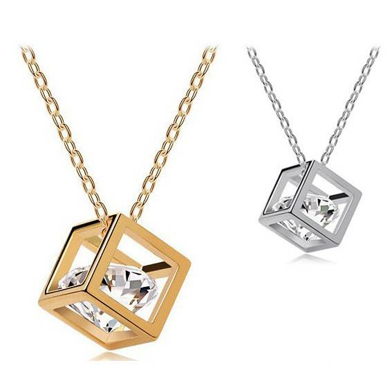 Fashion Crystal Cube Pendant Necklace For Women