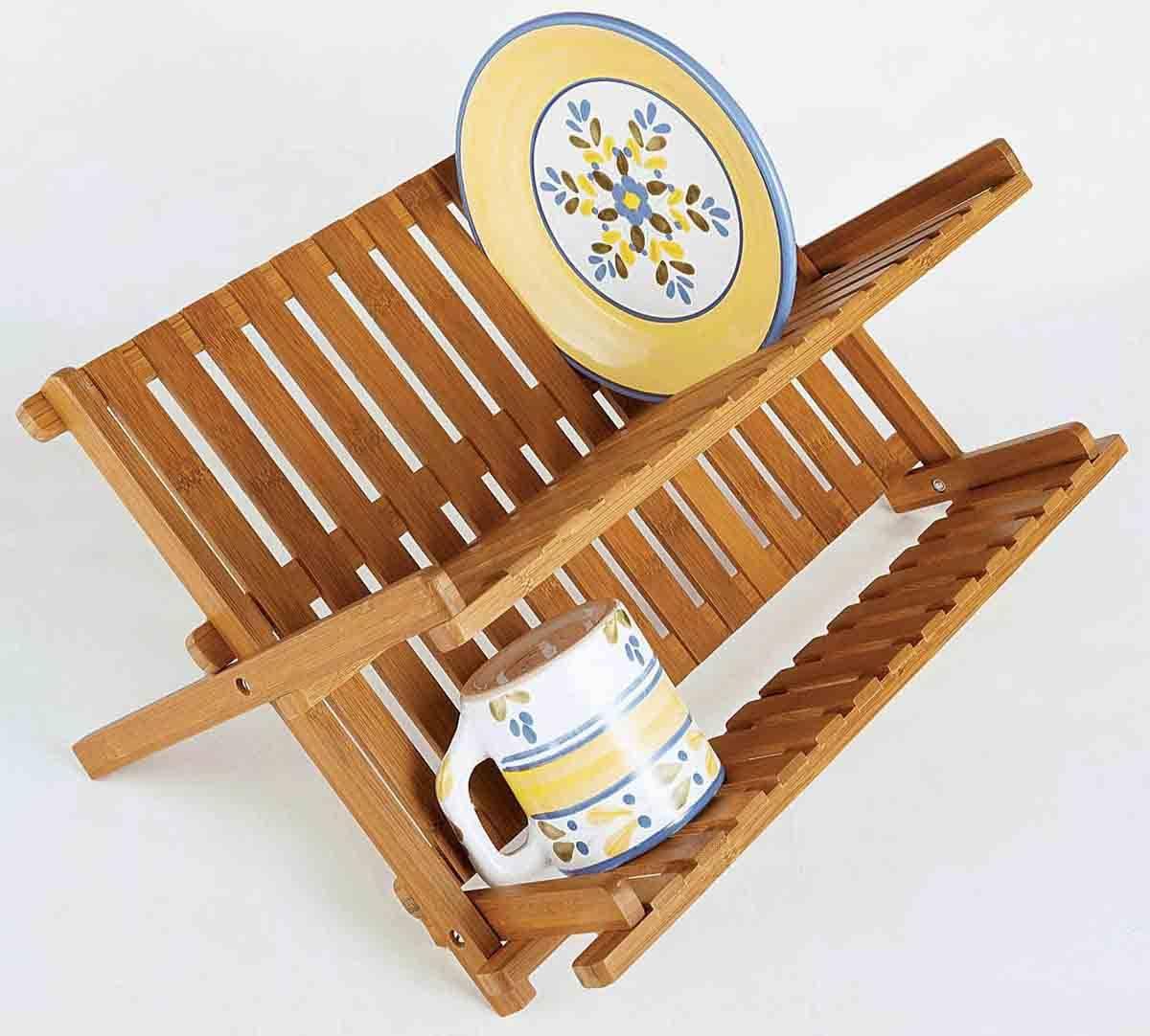 BH002/Bamboo Scissor Style Folding Dish Rack Plate Flatware Holder Set