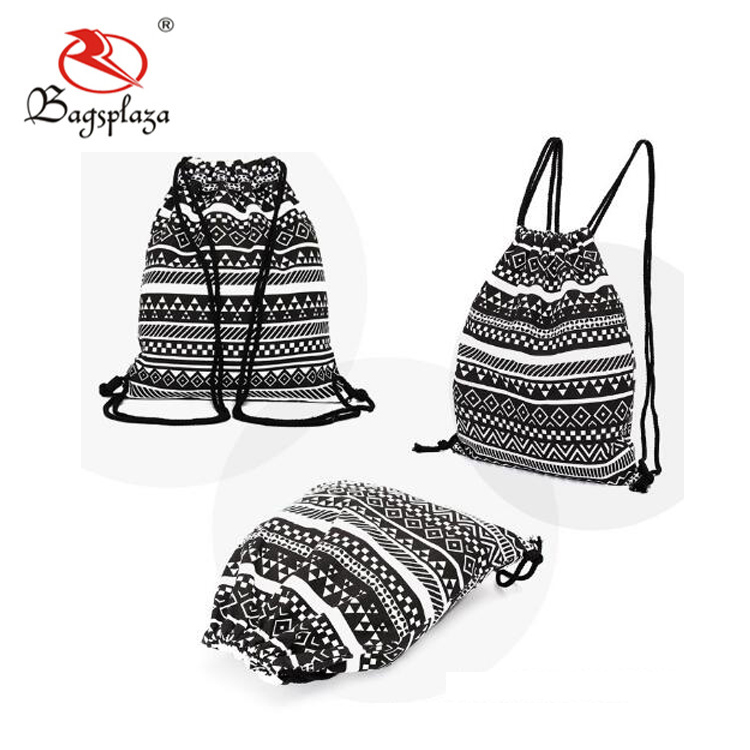 China suppliers fashion cloth promotional Christmas printed cotton canvas fabric drawstring bag