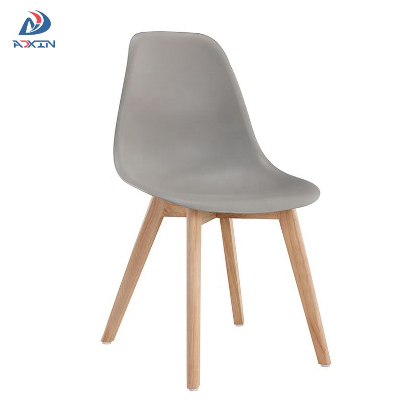 AL-805W Factory wholesale grey dining chair with plastic seat and wood legs for sale