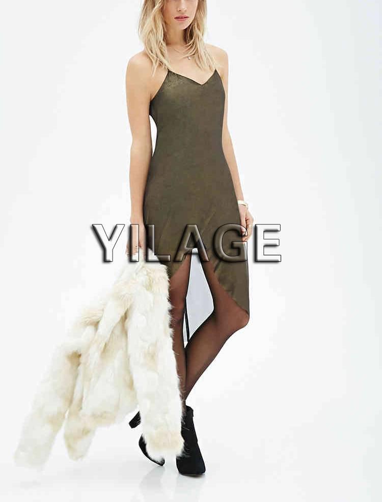 L1880 Metallic Tulip Dress Women braces skirt Chiffon Dresses