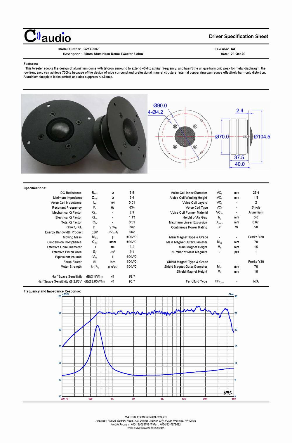 "1""Aluminium Dome Ferrite Magnet  Super Tweeter/Frequency Range: 650~40000Hz(C25A0907)"