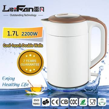 durable double wall stainless steel cordless kettle
