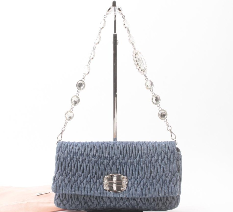 Used designer Brand Handbag miu miu Denim Crystal Beige Shoulder Bags for bulk sale.