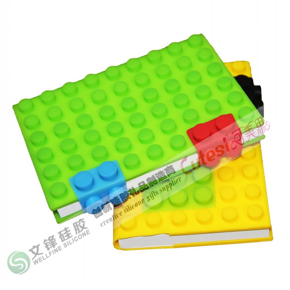 Wholesale Eco-friendly silicone notebook with blocks design in A6 size paper
