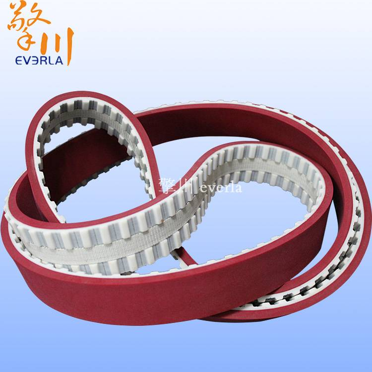 The synchronous belt surface plus red rubber surface slot and PVC fiber cloth