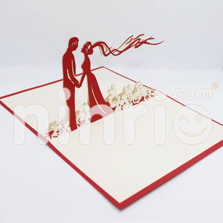 Wedding in garden Pop Up Card Handmade Greeting Card