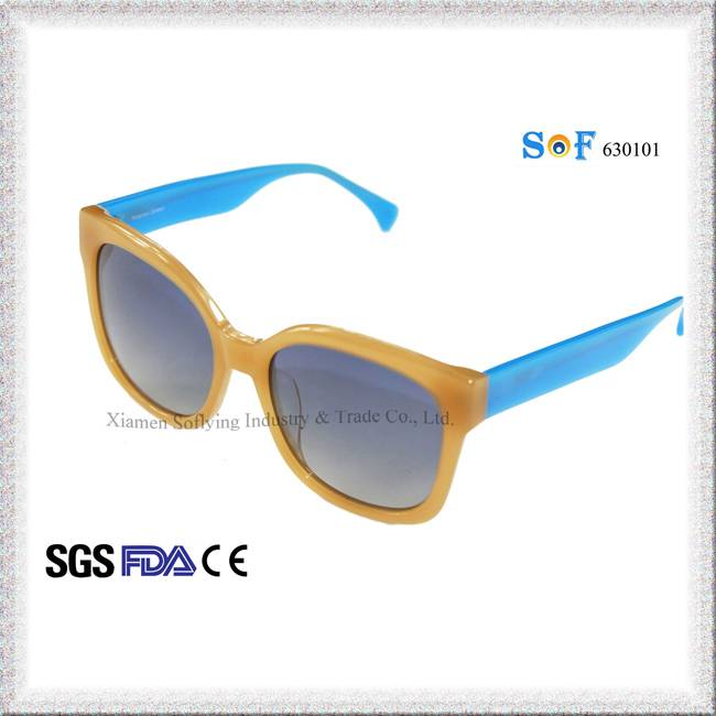 Customized Logo Novelty Fashion Designer Sunglasses w/ TR90 Yellow Frame