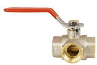 Forged brass full flow ball valve, 3-way