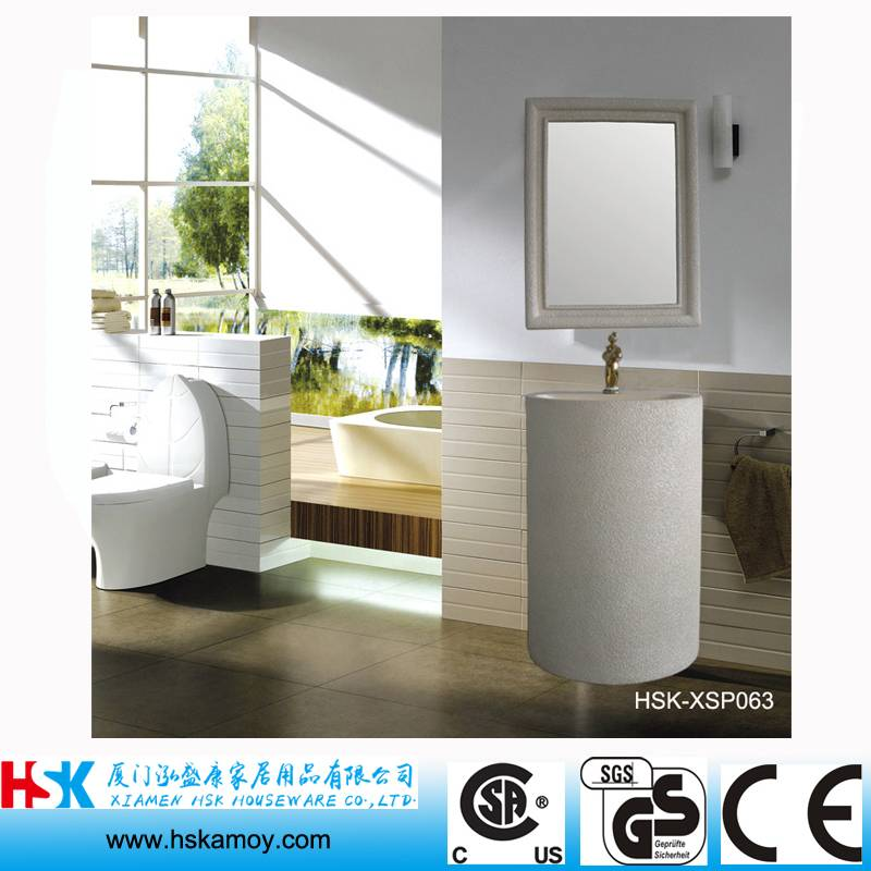 Design Bathroom Vanity, White Sandstone Bath Basin, Cylinder Bathroom Sink,WC Wash Hand Sink