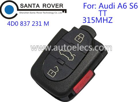 Car Remote Control Key For Audi 4D0 837 231 M 3+1 Button 315Mhz