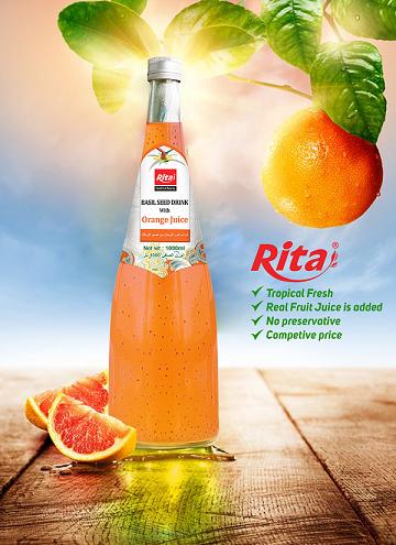 1000ml Glass Bottle Orange Flavor Basil Seed Drink