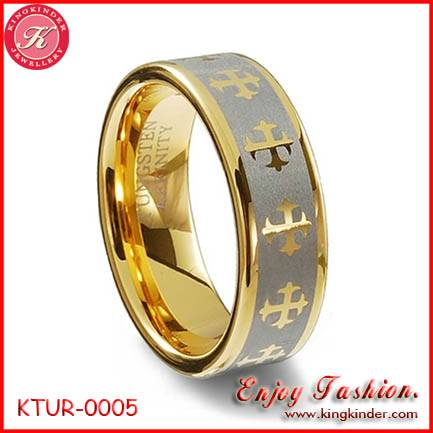 Golden Cross Tungsten Ring, Two Tone Gold Plated Ring, Wedding Ring, Tungsten Ring Wholesale