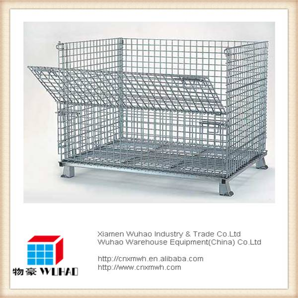 collapsible foldable stackable steel pallet cage