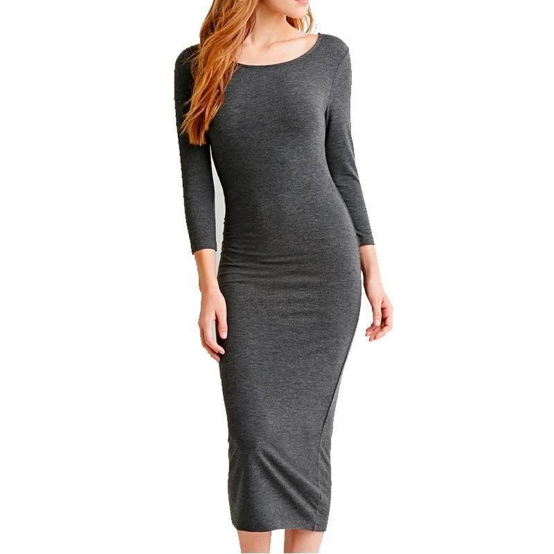 Women Bodycon Dress New 2016 Autumn Casual Dark Grey Round Neck Ruched Long Sleeve Skinny Sheath Pen