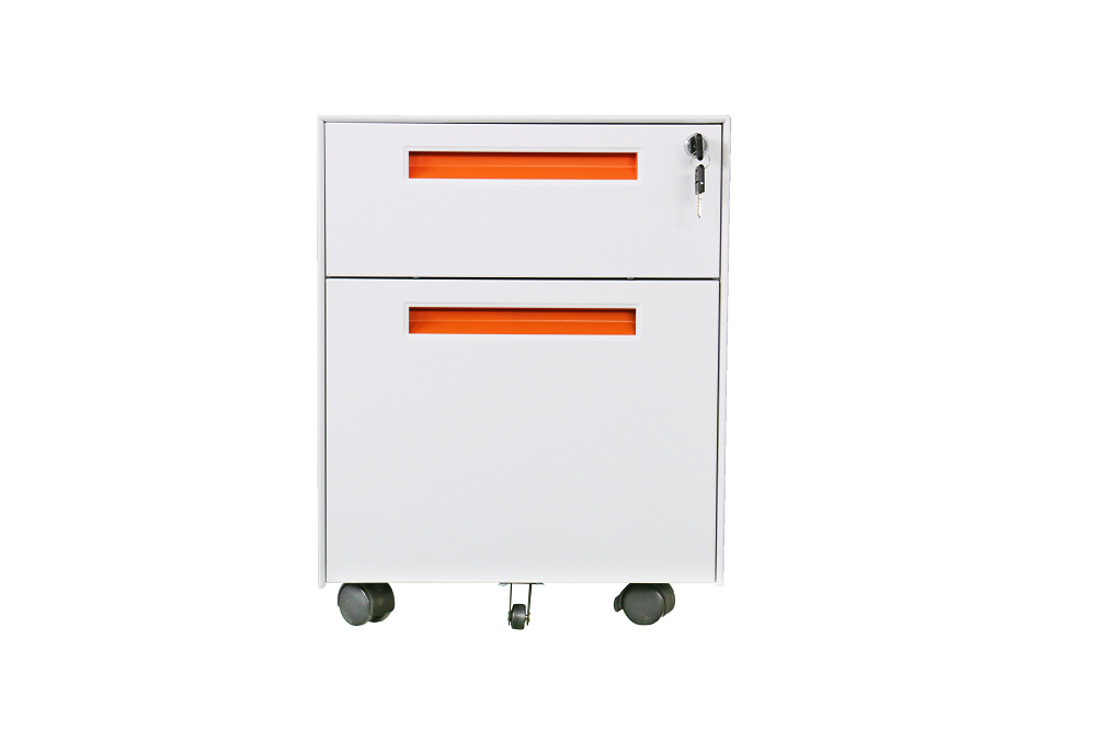 Filing steel mobile cabinet with 3 drawers, fold key, Size:490x380x500mm