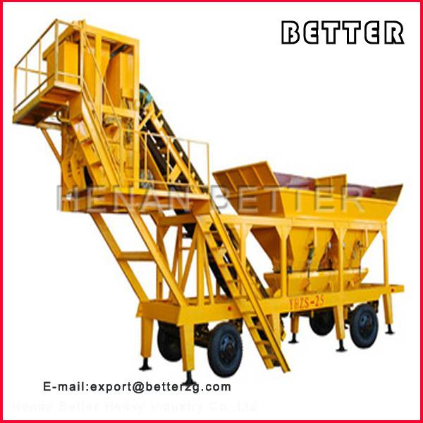 YHZS25 mobile concrete batching plant price