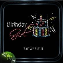 Beautiful birthday cake strass motif hotfix rhinestone design