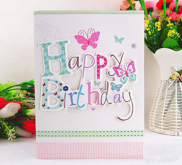 Happy Birthday letter handmade 3d sound module Greeting Cards